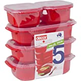 Décor 187750-004 Microsafe Oblong | Microwave Containers | BPA Free | Steam Release Vent | Dishwasher Safe, Red, 5 Pack: 2 x