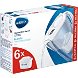 BRITA Marella Fridge Water Filter jug for Reduction of Chlorine, limescale and impuities, White, Includes 6 x MAXTRA+ Filter
