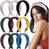 Duufin 9 Pcs Padded Headbands Velvet Headband Puffy Sponge Thick Headbands Vintage Wide Headband for Women, 9 Colors