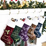 """gexworldwide GEX 2019 Family Christmas Stockings 5 Pack Embroidery Classic Luxury Velvet 22"""" Large Decor Hanging Ornament Fir"""