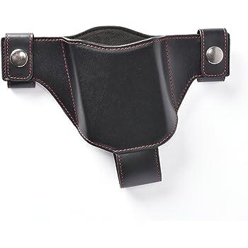 スマホ専用本革製ホルスター(左用) ブラック(赤ステッチ)