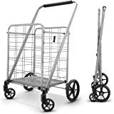 Newly Released Grocery Utility Flat Folding Shopping Cartwith 360° Rolling Swivel Wheels Heavy Duty & Light Weight Extra Lar
