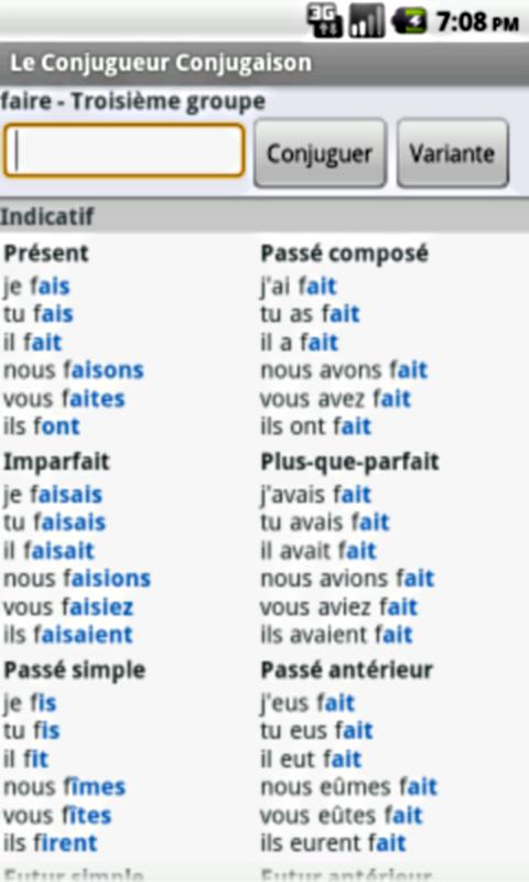 Amazon Co Jp Le Conjugueur Conjugaison Apps For Android
