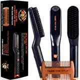 Tame's Easy Glide Beard Straightener - Fast Anti-Scald Beard Straightening Comb - Ceramic Heated Beard Brush - 3 Temperature