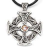 Trilogy Jewelry Pewter Solar Cross with Swarovski Austrian Crystal for Birthday on Leather Necklace
