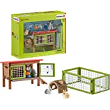 Schleich Farm World, Farm Toys for Boys and Girls Ages 3-8, 8-Piece Playset, Rabbit Hutch and Bunny Playpen Toy Set