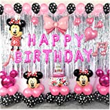 Minnie Theme Birthday Party Decorations Supplies Mouse Balloons Set Including Inflatable Minnie Ear Headbands Polka Dots Ball