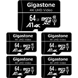 Gigastone 64GB 5-Pack Micro SD Card, 4K UHD Video, Surveillance Security Cam Action Camera Drone Professional, 90MB/s Micro S