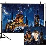Allenjoy 7x5ft Magic Castle Witch Wizard School Backdrop Photography Halloween Night Moon Background Sorcerer Party Banner De