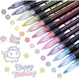 Super Squiggles Shimmer Markers, 12 Colours Double Line Outline Metallic Markers Pens, For DIY Greeting Card, Kid Journal, Po