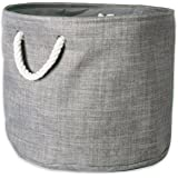 DII Collapsible Variegated Polyester Storage Basket or Bin with Durable Cotton Handles, Home Organizer Solution for Office, B