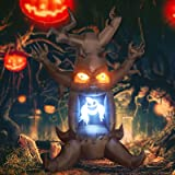 GOOSH 8 Foot High Halloween Blow Up Inflatables Dead Tree with White Ghost,Pumpkin and Owl for Halloween Yard Outdoor Decorat