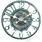 Lily's Home Hanging Wall Clock, Steampunk Gear and Cog Design with a Pewter Finish, Ideal for Indoor or Outdoor Use, Poly-Res