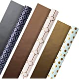 Hallmark 5EWR2435 All Occasion Reversible Wrapping Paper (Modern Metallics, Pack of 3, 120 sq. ft. ttl.) for Mothers Day, Bir