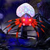 GOOSH 8 Foot Inflatables Halloween Spider with Magic Light for Halloween Yard Decor Indoor/Outdoor Decorations (8 Foot Inflat