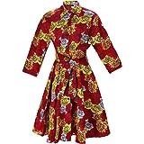 MCYSKK African Floral Print Women A-Line Button-Down Midi Dress Dashiki Dresses