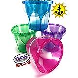 "Matty's Toy Stop Beach Gear 6.5"" Opaque Plastic Sand Buckets (Pails) Blue, Pink, Green & Purple Party Set Bundle - 4 Pack"