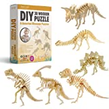 Hands Craft DIY 3D Wooden Puzzle Bundle Set, Pack of 6 Dinosaur Brain Teaser Puzzles | Educational STEM Toy | Safe and Non-To