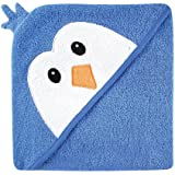 Luvable Friends Unisex Baby Cotton Animal Face Hooded Towel, Blue Penguin, One Size