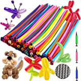 Balloon Animals Kit Twisting Balloons (100pcs) with Unbreakable Air Pump - OOTSR 260Q Latex Long Balloons for Animal Shape Pa