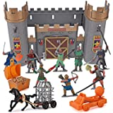 Liberty Imports Medieval Castle Knights Action Figure Toy Army Playset with Assemble Castle, Catapult and Horse-Drawn Carriag