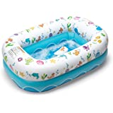 Mommy's Helper Inflatable Bathtub for Baby & Toddler; Saddle Horn Baby Bath Seat Keeps Baby from Sliding; Whimsical Ocean Des