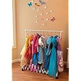 (Rack with 10 Pink Hangers) - Child Garment Rack- Kids Closet Organiser- with 10 Children's Velvet Hangers (Rack with 10 Pink