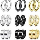 Udalyn 9 Pairs Stainless Steel Small Hoop Earrings Set for Men Women Huggie Hoop Earrings CZ Inlaid Cartilage Earrings