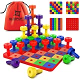 Patterned Stacking Peg Board Set Toy | Montessori Occupational Therapy Early Learning For Fine Motor Skills, Ideal for Toddle