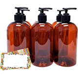 ljdeals 16 oz Amber Plastic Bottle with Black Lotion Pump, Pack of 6, BPA Free, FDA Approved, Made in USA, Bonus 6 waterproof