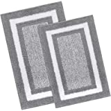 KMAT Bathroom Rugs and Mats Sets,2 PCS Ultra Soft Microfiber Non-Slip Bath mat,Machine Washable and Quick Dry Shower Rugs Flo