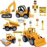 Construction Toys Sets 5 Pieces Mini Vehicles Including Truck Forklift Bulldozer Road Roller Excavator Dump Truck TractorFree