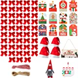 Christmas DIY Gift Tags Tree Decorations Set,147pcs Christmas Tree Hanging Ornaments with 4pcs Christmas Hat for Xmas Party S