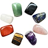 Chakra Stones Healing Crystals Set of 8, Tumbled and Polished, for 7 Chakras Balancing, Crystal Therapy, Meditation, Reiki, o