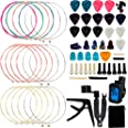 Augshy 65 PCS Guitar Tool Changing Accessories Kit Including Guitar Strings, Guitar Picks, Pick Holder, Capo, String Winder&C