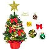 "Litake Tabletop Christmas Tree, 24"" Mini Artificial Christmas Tree with Battery Operated LED String Lights and Ornaments for"