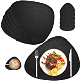AHHFSMEI Placemats Set of 6 Coasters and 6 Faux Leather Place mats Waterproof Coffee Mats Easy Clean Table Mats (Black)
