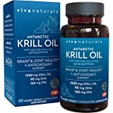 Krill Oil Supplement - Antarctic Krill Oil 1250 mg, Crill Oil Omega 3 with Astaxanthin, DHA Supplements for Joint and Brain H