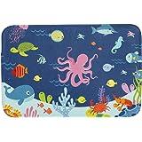 Bathroom Rug Mat, 24''X16'', Super Soft and Absorbent Shaggy Plush Nautical Sea Bath Rugs for Kids, Thicken, Non Slip, Carpet