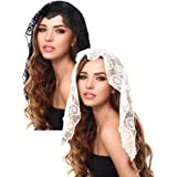 2 Pieces Floral Lace Veils Head Covering Latin Mass Mantilla Veils Short Scarf for Bridal Women