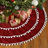 Frigg Christmas Tree Skirt 47 Inch Red Linen Xmas Tree Skirts with Pom Pom for Christmas Decorations,Winter New Year House De