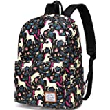 Backpack for Girls,VASCHY Fashion Floral Cactus College Student Cute School Backpack w Padded Laptop Sleeve Black Unicorn