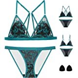 The victory of cupid Embroidered Flower Sponge Cushion Front Buckle Bra Set Underwear Bralette
