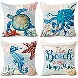 Hexagram Ocean Theme Vintage Pillow Covers 18 x 18 Inch Set of 4 Blue Sea Turtle Beach Pattern Soft Cotton Linen Throw Pillow