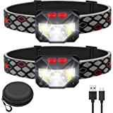 Kuoal LED Rechargeable Headlamp,2-PACK Waterproof Flashlight Motion Sensor Control Head lamp, 1000 Lumen Bright 30 Hours Runt