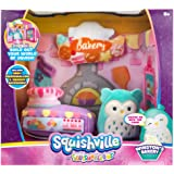 """Squishville by Squishmallow Bakery Play Scene, 2"""" Soft Mini-Squishmallow, 8"""" Playset, 1 Plush Accessory, Marshmallow-Soft Ani"""