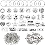 518 Pieces Motivational Keychain Accessory Set Includes 58 Pieces Inspirational Words Charms Words Mixed Pendant Charms 60 Pi