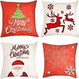 "Christmas Pillow Cover Decorations - 4 PCS 18""x18"" Christmas Decorative Couch Pillow Cases Cotton Linen Pillow Square Cushion"