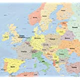 世界地図 [ヨーロッパ] ポスター 大型 英語版 ラミネート加工 インテリア おしゃれ かっこいい