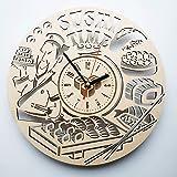 Sushi 寿司木製掛け時計ー完璧で美しく作られたー現代アートで自宅を飾ろうー彼と彼女にユニークなギフトーサイズ12インチ(30 ㎝)